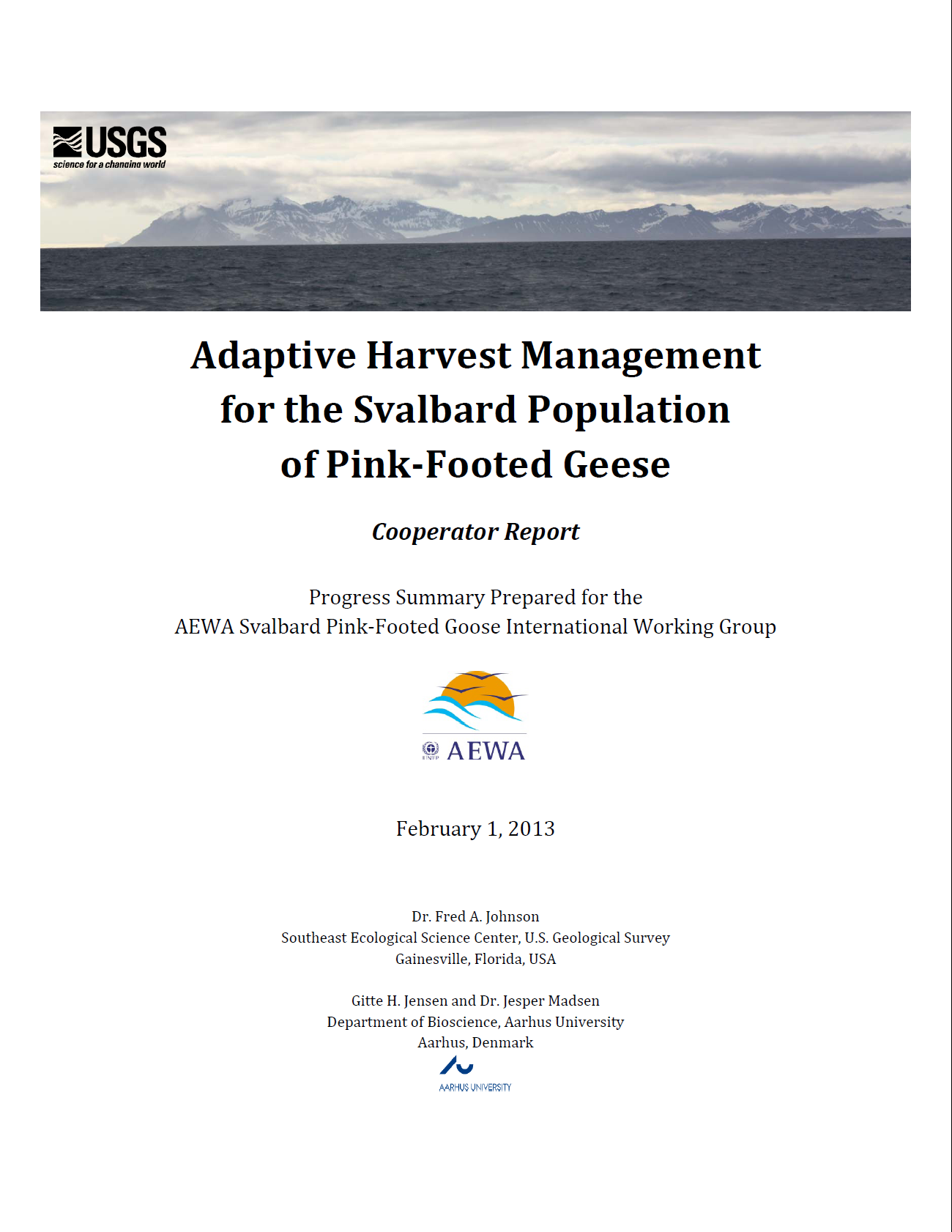 Adaptive Harvest Management Cooperator Report, front cover