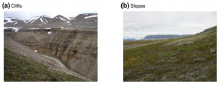 Cliff and slope nesting environments on Svalbard, for pink-footed geese (Anderson, Madsen et al 2014)